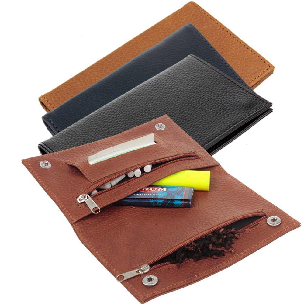 Premium Genuine Leather Hookah Cigarette Tobacco Pouch Case W/Rolling Tip Paper Holder Slot Christmas Xmas Gift (Brown)