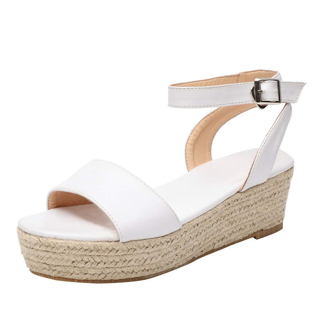 Thenxin Women' Leopard Strap Ankle Buckle Platform Wedges Ladies Woven Roman Shoes (White,9 US)