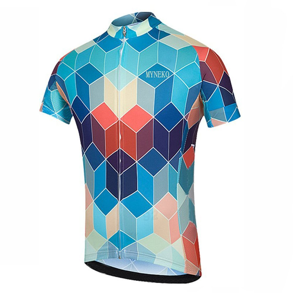 MYNEKO メンズ アップグレード プロチームスタイル 半袖 サイクリング ジャージスーツ ジャージ&ビブショーツ カスタマイズ可 B0711PHZHZ 3L|Style Jersey D Style Jersey D 3L
