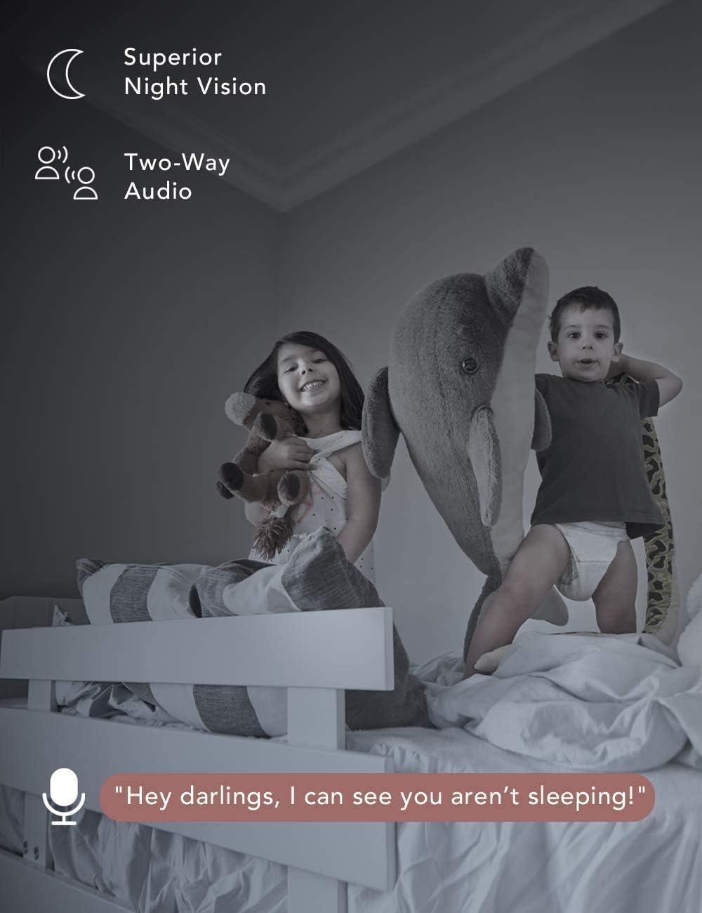 Nooie Baby Monitor, WiFi Pet Camera Interior, cámara IP inalámbrica de 360 grados, cámara de seguridad 1080P, seguimiento de movimiento, visión nocturna Super IR, funciona con Alexa, audio bidireccional, detección de movimiento y sonido