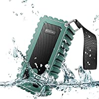 Portable Outdoor Bluetooth Speaker, Water Resistant IPX7 Wireless Shower Speaker with 2X 5W Output Power with Enhanced Bass,Built-in Micphone, FM Radio/Support MicroSD Card - Army Green