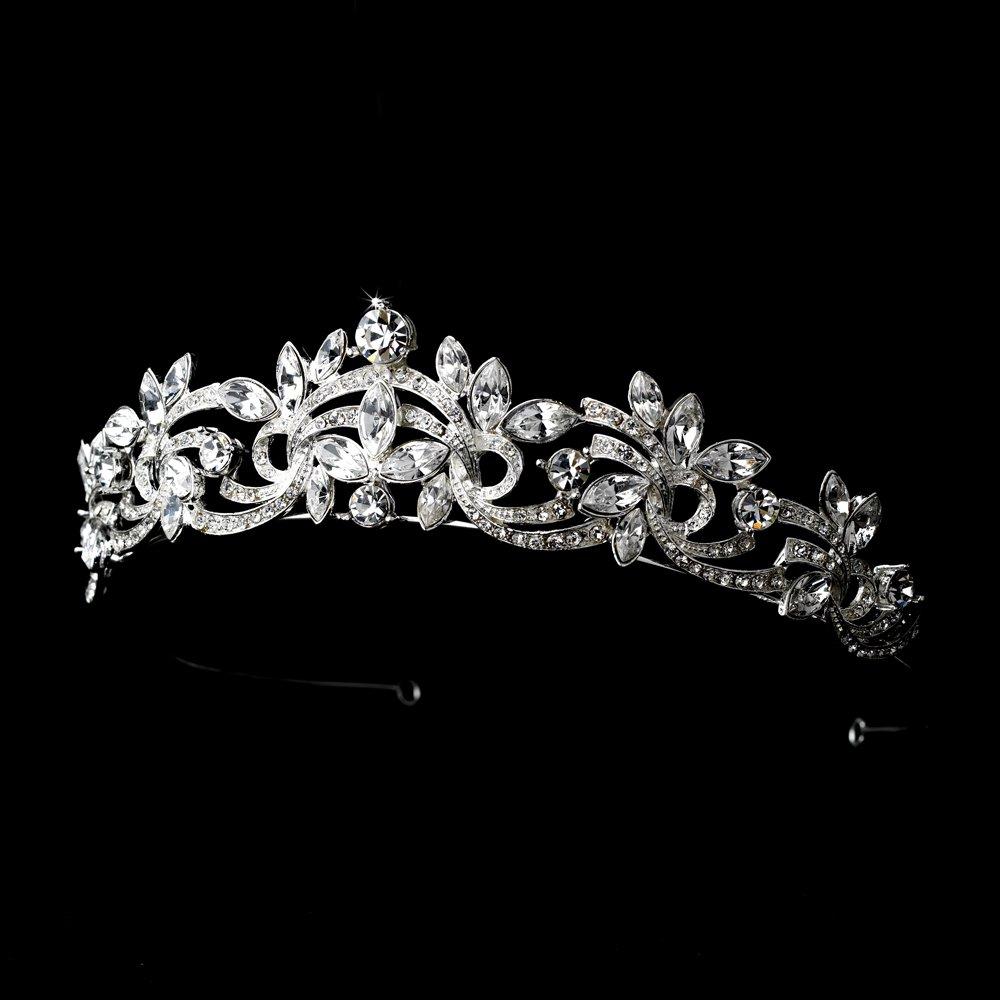 Emilie Elegant Silver Swirl Rhinestone Wedding Bridal Tiara