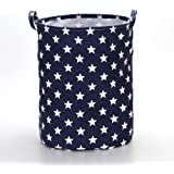 """VuHom 19.7"""" Large Laundry Hamper (Available 17.7"""" and 13.7""""), Drawstring Waterproof Round Cotton Linen Collapsible Storage Basket Star Deisgn (Royal Blue)"""