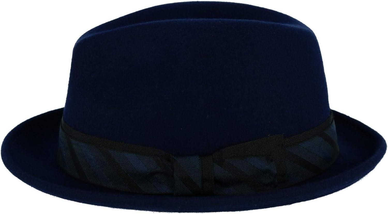 Broner Mens Wool Felt Fedora with Diagonal Striped Hatband