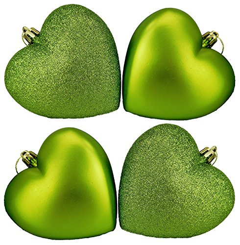 Pack of 12-100mm Glitter Heart Shaped Christmas Tree Baubles - Matte & Glitter Design - Christmas Decorations (Lime Green) ()