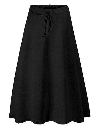 763ed6bb96 IDEALSANXUN Women's Autumn Winter Fleece Lined Drawstring Elastic Waist  A-Line Soft Skirt at Amazon Women's Clothing store: