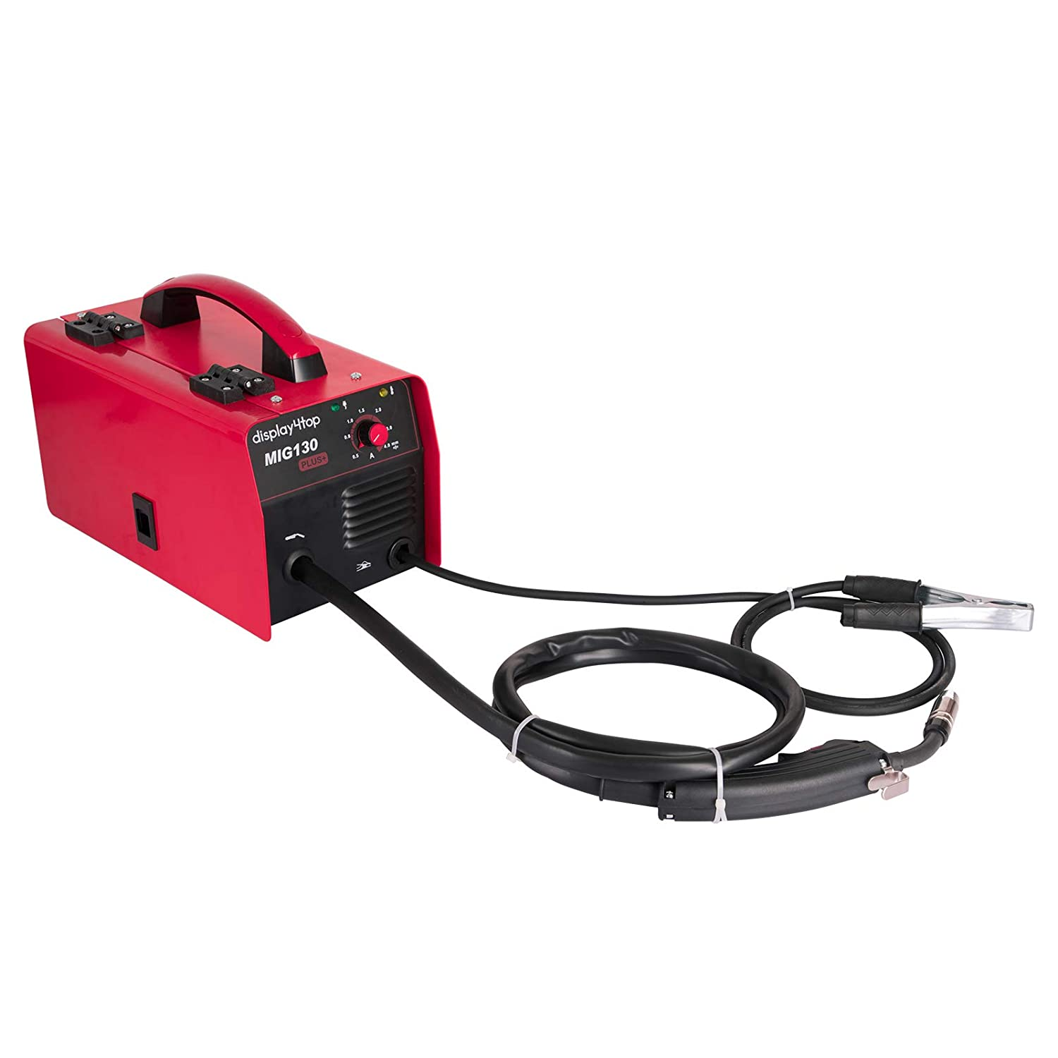 110V Display4top Portable No Gas MIG 130 PLUS Welder Flux Core Wire Automatic Feed Welding Machine,DIY Home Welder w//Free Mask