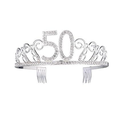Frcolor Cumpleaños Tiara Corona Cristal Diadema con peine para 50th fiesta de cumpleaños