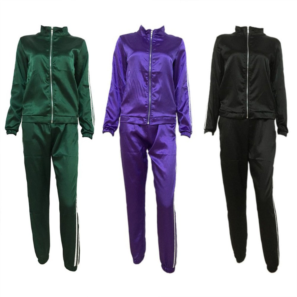 Women Tracksuit Set Stripe Zip Up Hoodie Sweatshirt+Jogging Pants Satin Outfit Jogging Sport Suit 5 Colours