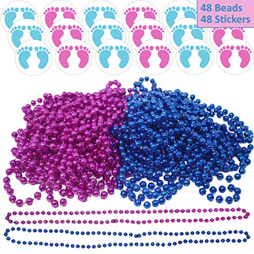 (48 Gender Reveal Necklaces and 48 Stickers, 24 Pink & 24 Blue of Each. 2