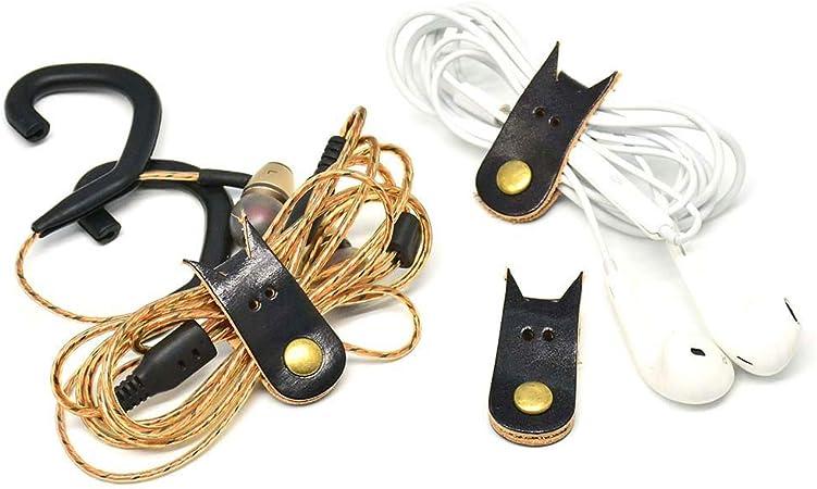 Leather Headphones Earphones Earbuds Cable Tie Cord Wrap Winder Organizer Holder
