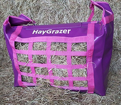 PURPLE PINK HAYGRAZER BAG  HAY FEEDER FOR HORSES OR PONIES FOR SLOW FEEDING, PREVENTS WASTAGE AND BOREDOM ON BOX REST OR DURING TRAVEL (PURPLE PINK)