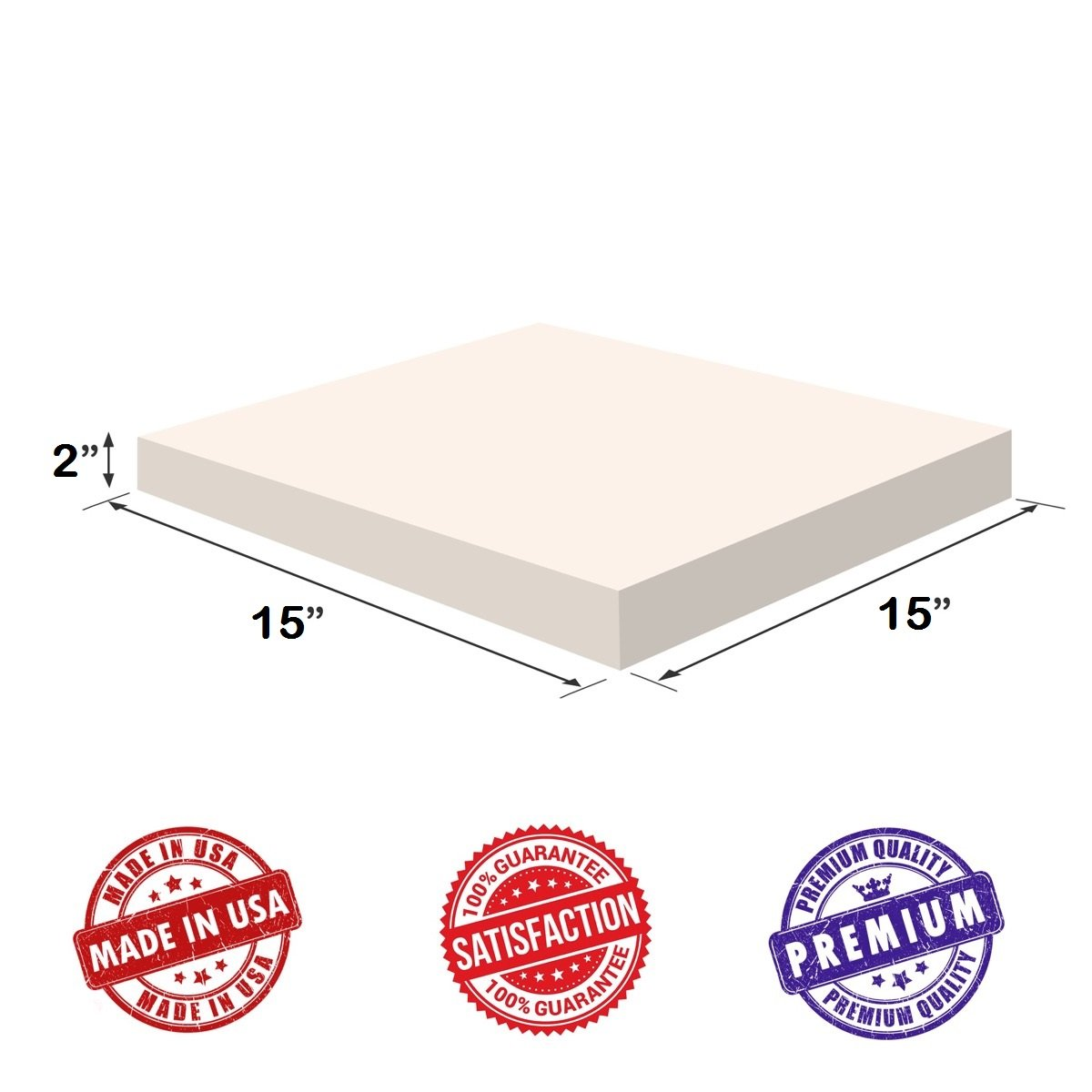 Chair Cushions Pillows Doctor Recommended for Backache /& Bed Sores by Dream Solutions USA Upholstery Visco Memory Foam Square Sheet- 3.5 lb High Density 2x15x15- Luxury Quality for Sofa