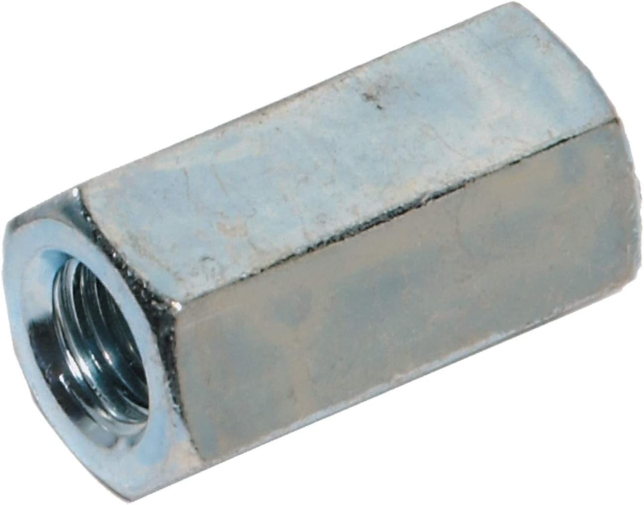 3//8-24 x W1//2 x 1 1//8 Fine Thread A563 Grade A Hex Rod Coupling Nut Low Carbon Steel Zinc Plated Pk 10