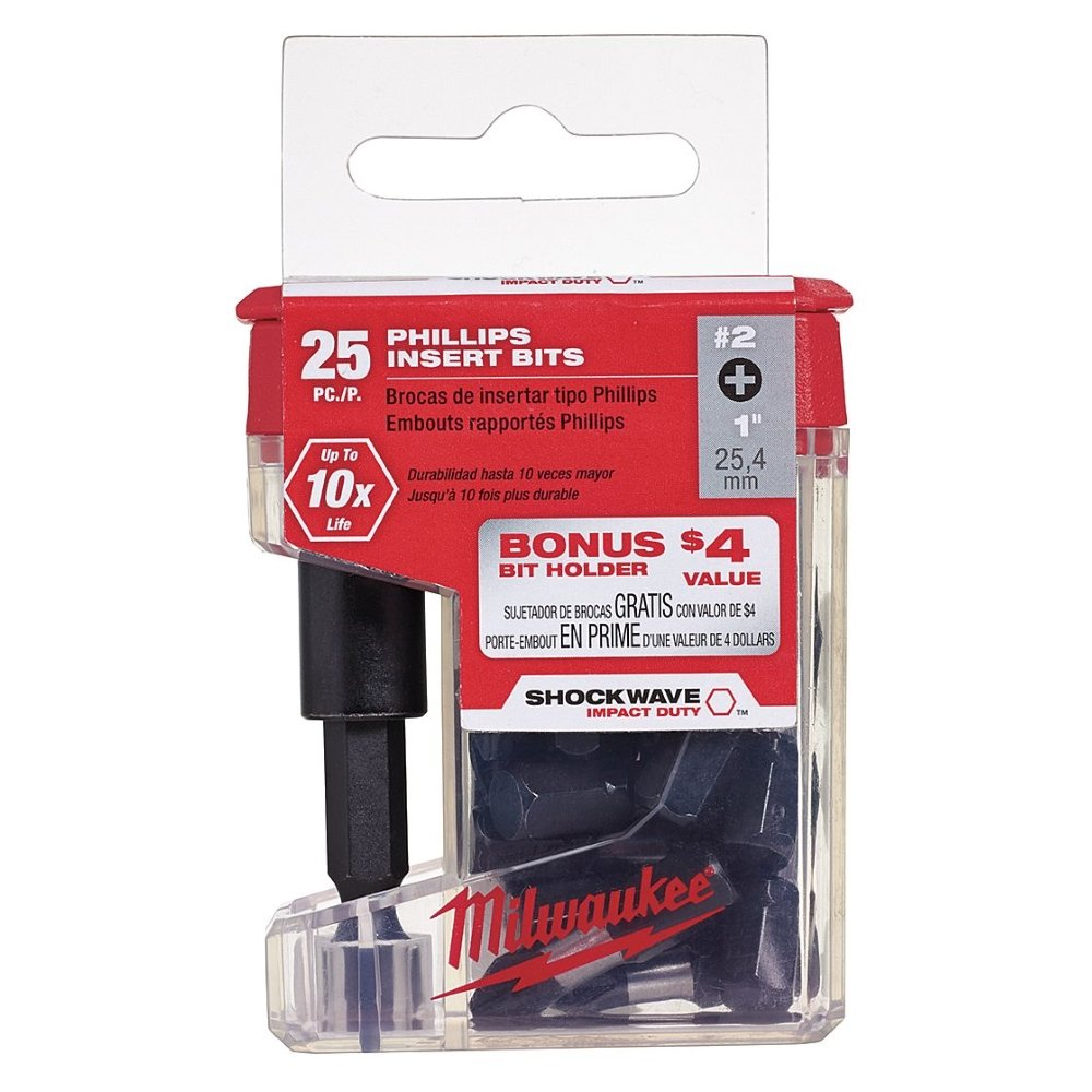 Milwaukee 48-32-5009 Phillips #2 Bit w/ Magnetic Bit Tip Holder (25-Piece) 10 Pack - - Amazon.com
