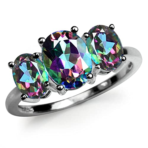 Silvershake 4.02ct. 3 Stones Oval Shape Mystic Fire Topaz 925 Sterling Silver Ring