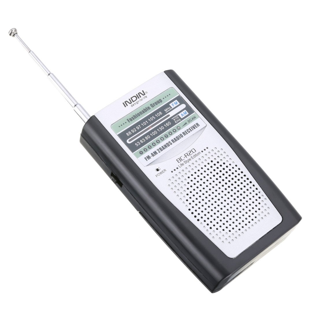 Lysignal Mini Pocket AM FM Radio Slim Portable Radio Receiver Stereo Speakers Music Player with Telescopic Antenna (BC-R20)