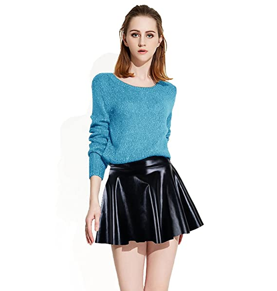 Abbylexi Womens Shiny Disco Mini Skirt Metallic Faux Leather Skirts