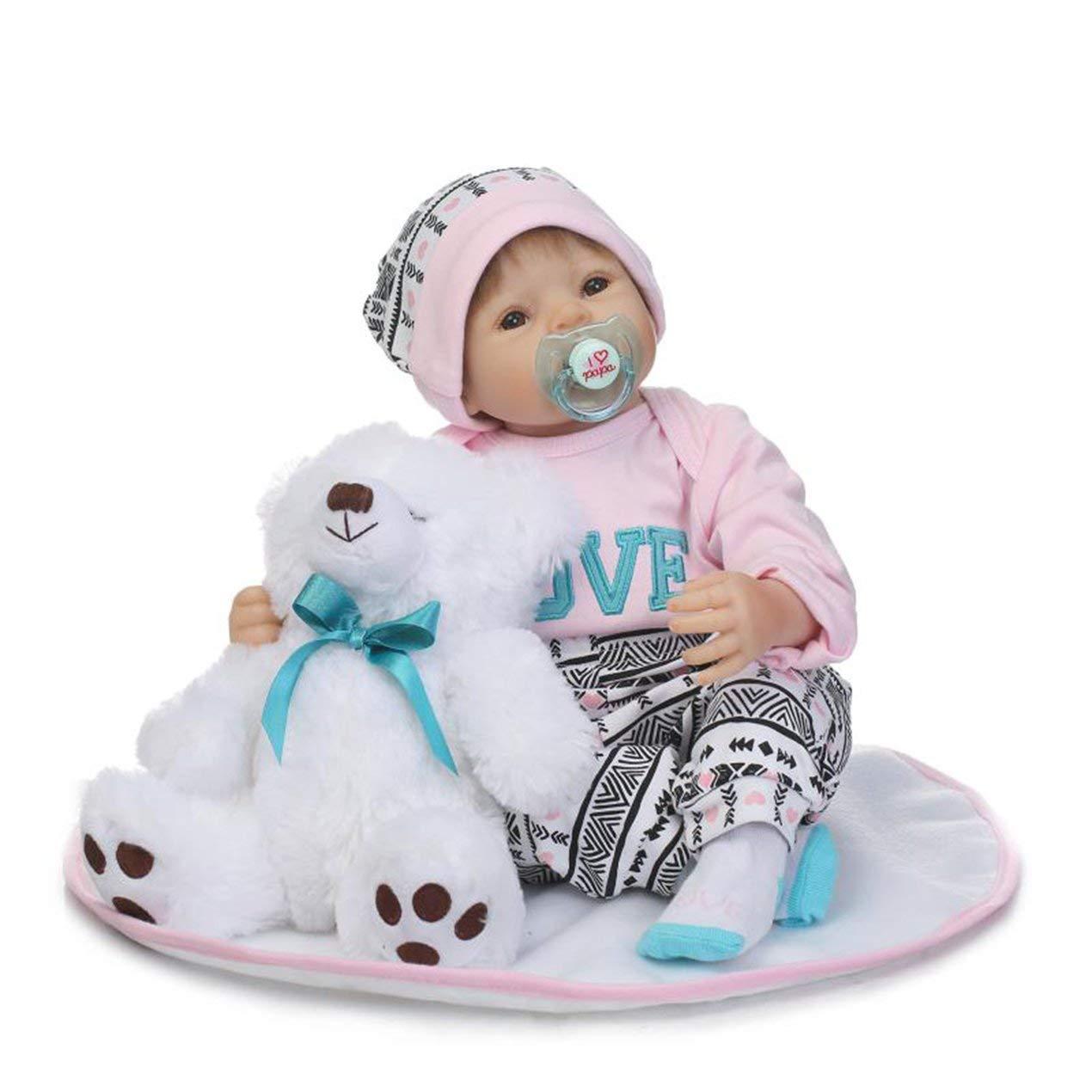 Naturgetreue Neugeborenes Baby Doll mit Weiß Bear, ungiftig Realistische Reborn Baby Doll mit Netten Handbemalte Eigenschaften und handapplizierte Haare, für Kinder Geburtstag Weihnachtsgeschenke