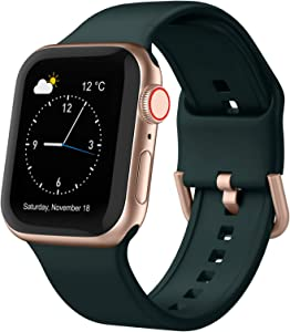 Adepoy Compatible with Apple Watch Bands 40mm 38mm, Soft Silicone Sport Wristbands Replacement Strap with Classic Clasp for iWatch Series SE 6 5 4 3 2 1 for Women Men, Deep Green 38/40mm