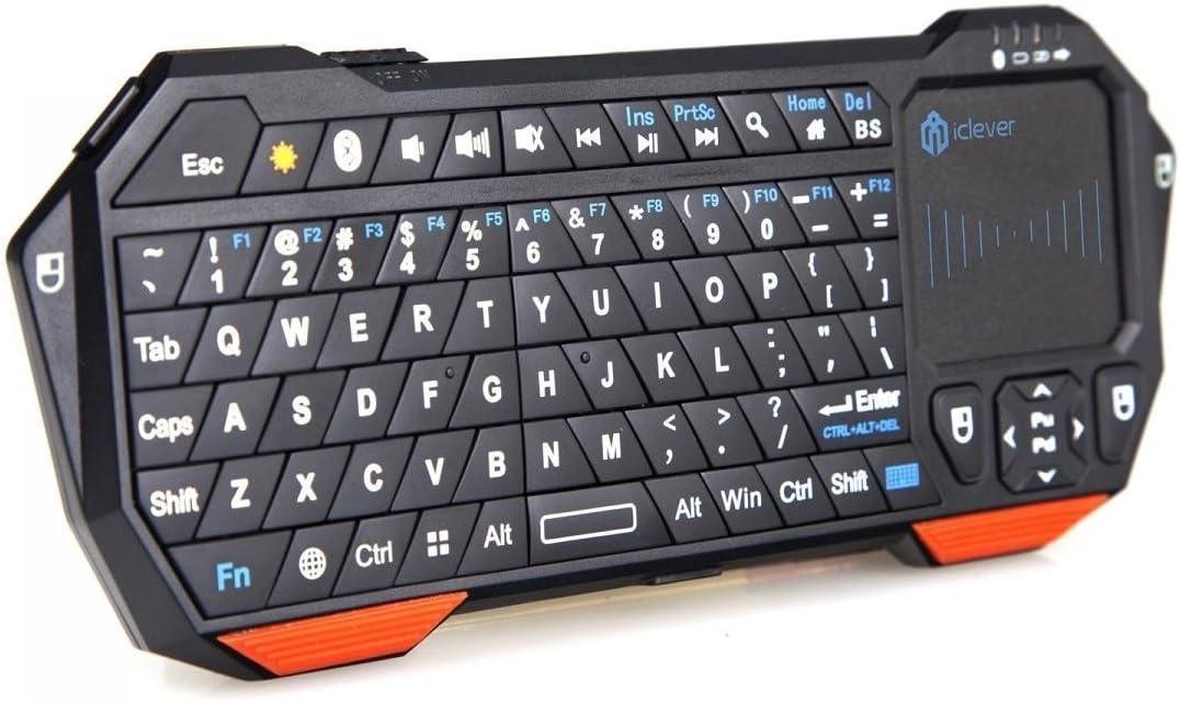 iClever – retroiluminada Mini inalámbrico Bluetooth teclado con Touchpad integrado y batería recargable para PC Google Android Smart TV Box Media Mini TV PC Stick IPTV HTPC portátil PS3: Amazon.es: Informática