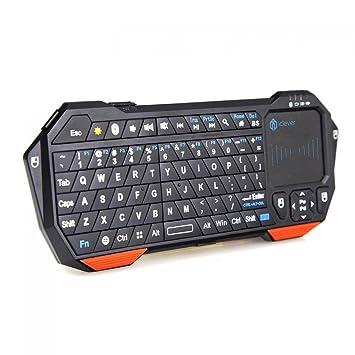 iClever - retroiluminada Mini inalámbrico Bluetooth teclado con Touchpad integrado y batería recargable para PC Google Android Smart TV Box Media Mini TV PC ...