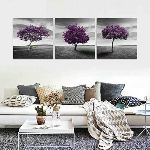 CrmArt - 3 Panels Abstract Patchwork Painting Wall Art - Meadow Purple Tree Lawn - Canvas Art Home Decoration - 16x16 - Meadow 2 Canvas
