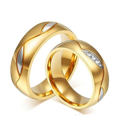 Bishilin 2Pcs Acero Inoxidable 6Mm Anillos de Boda Él y Ella Oro Juego Mujeres Talla 12 & Hombres Talla 15: Amazon.es: Joyería