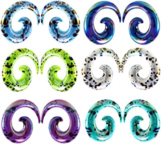 Yzibei Women's Big Gauges kit 12Pcs Ear Gauges Kit Acrylic Spiral Tapers Tunnel Colorful Ear Stretcher Expander Plugs Set Jewelry 2mm-12mm (Size : 4mm)