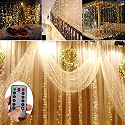 Echosari Battery Operated 300 Led Curtain Lights Outdoor String Fairy Party Wedding Christmas Home Garden Decorations (10ft Long, 10ft Drop, 8 Light Modes, Warm White)
