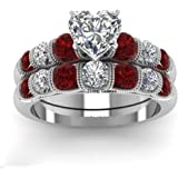 Jiang Guanyu Gy Jewelry Heart Shape CZ Red Zircon White Gold Filled Cocktail Ring Women's Rings Sets