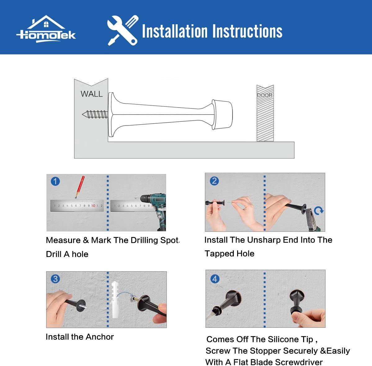 HOMOTEK 8 Pack Heavy Duty Solid Rigid Door Stop with Soft Rubber Tip, Zinc Die Cast Door Stopper Protect Wall & Door , White: Home Improvement