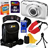 Nikon COOLPIX W100 13.2MP Waterproof & Shockproof Digital Camera with built-in Wi-Fi & Full HD 1080p Video (White) - International Version + 8pc 8GB Accessory Kit w/ HeroFiber Cleaning Cloth