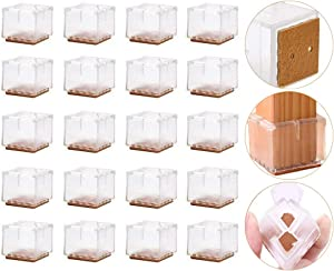Ninonly Square Chair Leg Floor Protectors Silicone Chair Leg Caps with Felt Pads, Chair Glides Feet Caps Tips, Furniture Feet Covers, for 1.18''-1.37'' Square Legs, 20 Pack