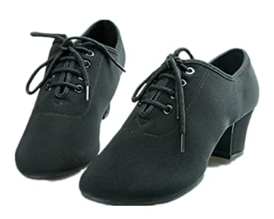 Lace-up Dancing Oxford Latin Shoes Chunky High Heel Shoes For Women FoxtrotRumbaSwingDisco