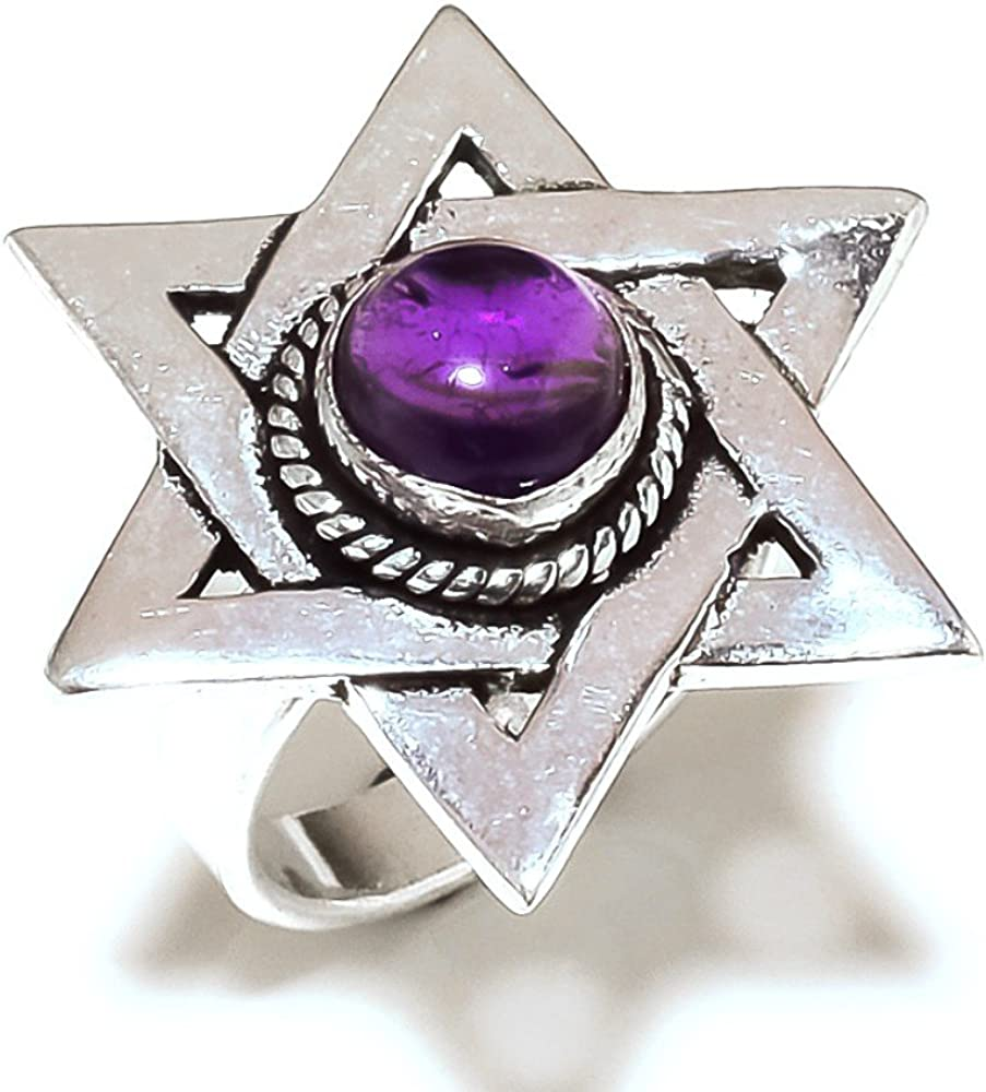 Pretty Sizable Purple Amethyst Quartz Sterling Silver Overlay 9 Grams Ring Size 7 US
