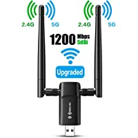Wireless USB WiFi Adapter for PC - 802.11AC 1200Mbps Dual 5Dbi Antennas 5G/2.4G WiFi USB for PC Desktop Laptop MAC Windows 10/8/8.1/7/Vista/XP/Mac10.6/10.13, WiFi USB Computer Network Adapters