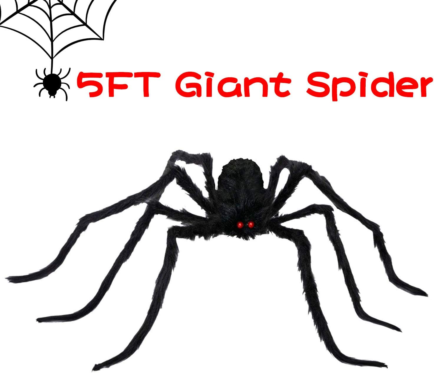 ALLADINBOX Halloween Hairy Scary Virtual Realistic Posable Spider Black - Indoor Outdoor Yard Furry Giant Haunted House Party Decor Supplies, 60''