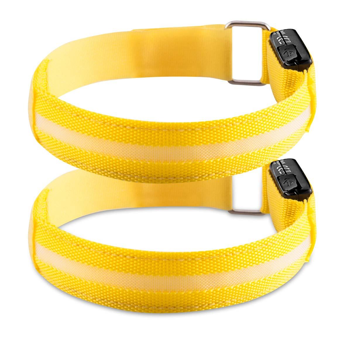 Fascetta Luminosa Cavo USB 2X Bracciale Sicurezza Alta visibilit/à Sport Corsa Bici Cinturino Giallo kwmobile Fascia da Braccio LED Ricaricabile