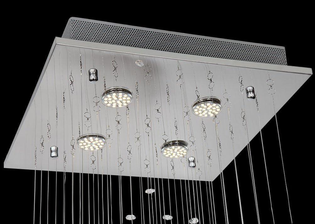 Gr/ö/ße: L40cm B40cm H65cm Treppenhaus Unterputz LED Kronleuchter Beleuchtung f/ür Wohnzimmer Schlafzimmer Esszimmer Flur Klarglas K9 Kristall Deckenleuchte Moderner Quadratischer Kristallleuchter