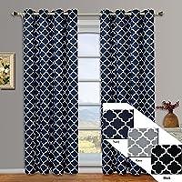 Meridian Navy Grommet Room Darkening Window Curtain Panels, Pair / Set of 2  Panels, 52x84 inches Each, by Royalu2026