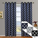Meridian Navy Grommet Blackout Window Curtain Drapes, Pair / Set of 2 Panels, 52×108 inches Each, by Royal Hotel