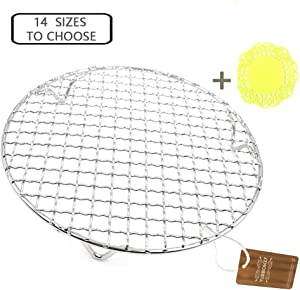 """Turbokey Steaming Racks Dia 11.6"""" Round Barbecue Grids Cross Wire Footed Steaming Stainless Steel Cooling Rack with Legs Multi-Purpose Grill Rack for Airfryer Instant Pot/Pressure Cooker (295mm/11.6"""")"""