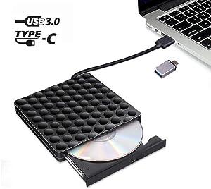 External CD DVD Drive, Portable High-Speed Data Transfer Type C and USB 3.0 Slim DVD-RW Player Burner Writer Rewriter for Laptop Notebook Desktop PC Mac OS/Windows/Linux (Black)