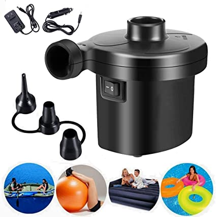 Air Mattress Pump for Inflatable Blow up Pool Raft Bed Boat Toy Exercise Ball 110V AC//12V DC Quick-Fill AC//DC Inflator/&Deflator with 3 Nozzles KERUITA Air Pump ACDC
