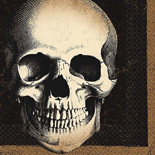 Amscan Creepy Halloween Boneyard Skull Disposable Beverage Paper Napkins, 5''x 5'' Pack of 125. Party Supplies (750 Piece)