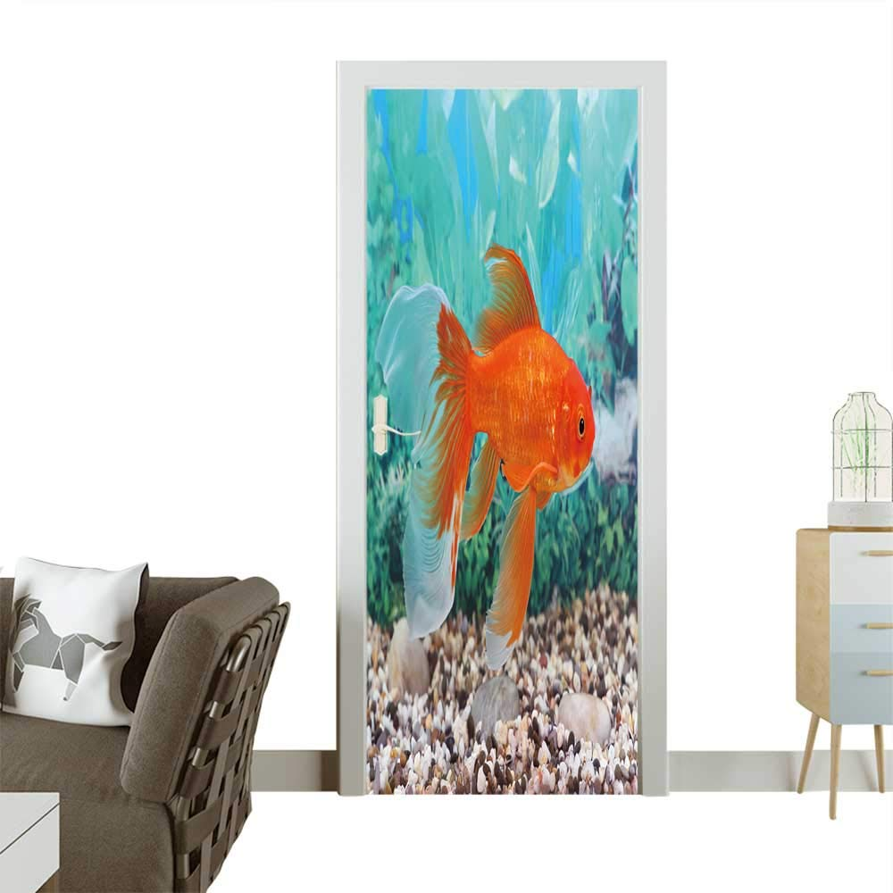 color08 W38.5 x H77 INCH color08 W38.5 x H77 INCH Waterproof Decoration Door Decals The goldfish Floats in an Aquarium Perfect Ornament W38.5 x H77 INCH