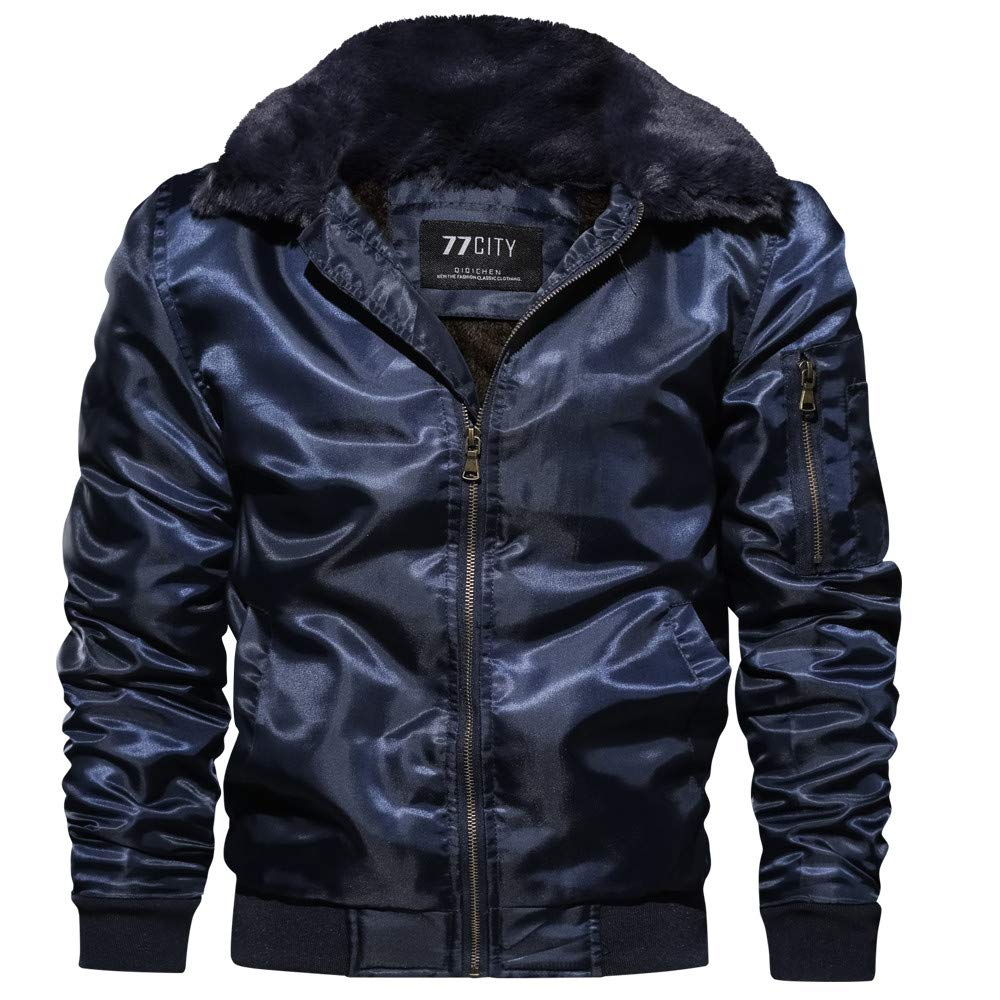Corriere Big Promotion! Winter Thicken Coat for Men Casual Loose Full Zip Pure Color Long Sleeve Jacket Outwear Corriee
