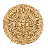 NOVICA Yellow Archaeological Theme Ceramic Advent Calendar Wall Plaque, Small Ochre Aztec Calendar'