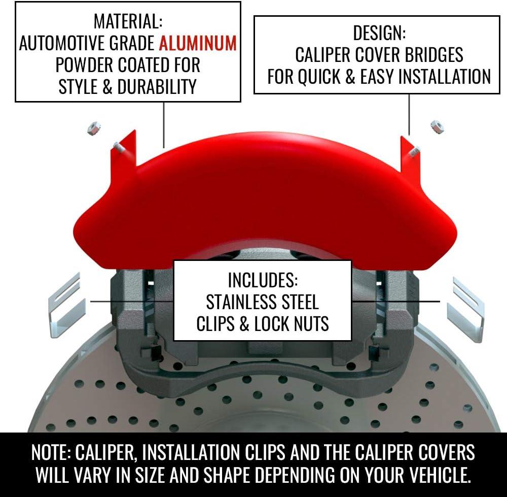 Set of 4 MGP Classic Caliper Covers 34015SCLCRD Red Aluminum Brake Covers
